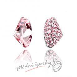 Náušnice Two stones rose s krystaly Swarovski Elements