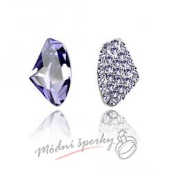 Náušnice Two stones tanzanite s krystaly Swarovski Elements