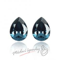 Náušnice Tear stone dark blue s krystaly Swarovski Elements