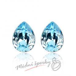 Náušnice Tear stone aquamarine s krystaly Swarovski Elements