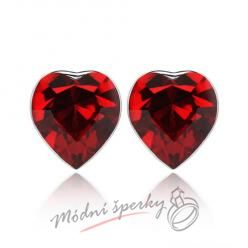 Náušnice Heart stone dark red s krystaly Swarovski Elements