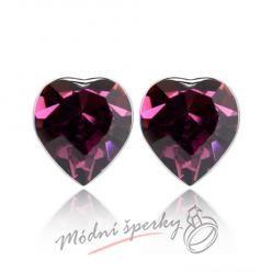 Náušnice Heart stone amethyst s krystaly Swarovski Elements