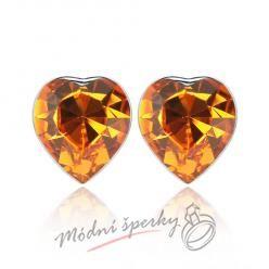 Náušnice Heart stone gold s krystaly Swarovski Elements