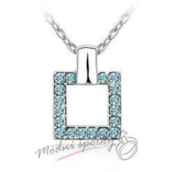 Náhrdelník modrý čtverec - s krystaly Swarovski Elements