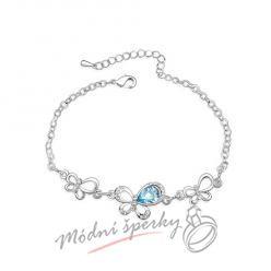 Náramek s krystaly Swarovski Elements motýl aquamarine