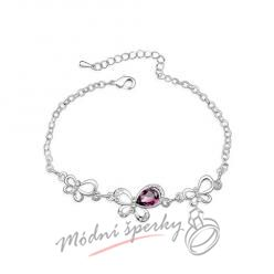 Náramek s krystaly Swarovski Elements motýl dark purple