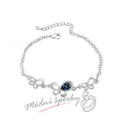 Náramek s krystaly Swarovski Elements motýl dark blue