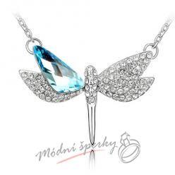 Náhrdelník s přívěškem letíci vážky s krystaly SWAROVSKI ELEMENTS