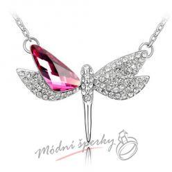 Růžová vážka - s krystaly Swarovski elemenst