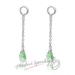 Náušnice Long crystal green s krystaly Swarovski Elements