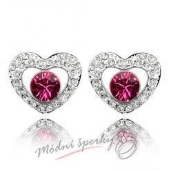 Náušnice Heart with dot fuchsia s krystaly Swarovski Elements