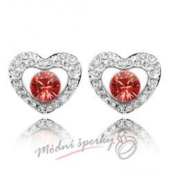 Náušnice Heart with dot red s krystaly Swarovski Elements