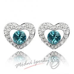 Náušnice Heart with dot ocean blue s krystaly Swarovski Elements