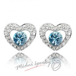 Náušnice Heart with dot aquamarine s krystaly Swarovski Elements