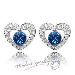 Náušnice Heart with dot sapphire s krystaly Swarovski Elements