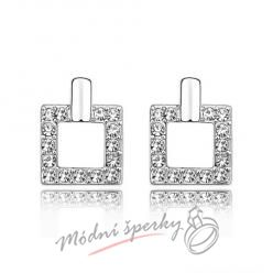Náušnice Luxury square white s krystaly Swarovski Elements