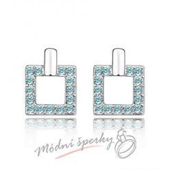 Náušnice Luxury square aquamarine s krystaly Swarovski Elements