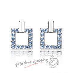 Náušnice Luxury square light  sapphire s krystaly Swarovski Elements