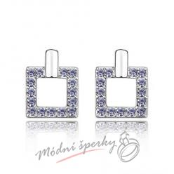 Náušnice Luxury square tanzanite s krystaly Swarovski Elements