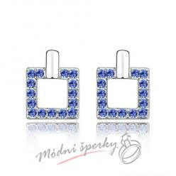 Náušnice Luxury square sapphire s krystaly Swarovski Elements