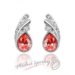 Náušnice Silver tear red s krystaly Swarovski Elements