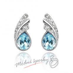 Náušnice Silver tear aquamarine s krystaly Swarovski Elements