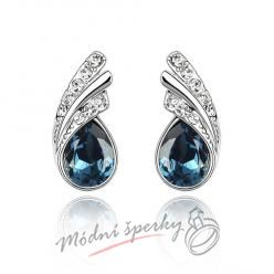 Náušnice Silver tear dark blue s krystaly Swarovski Elements