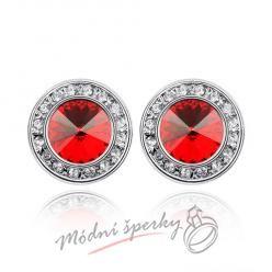 Náušnice Elegant dots red s krystaly Swarovski Elements