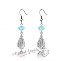 Náušnice Long silver with crystal blue s krystaly Swarovski Elements
