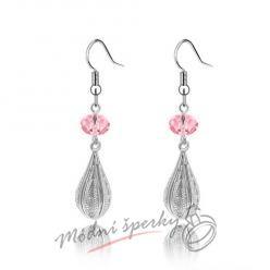 Náušnice Long silver with crystal pink s krystaly Swarovski Elements
