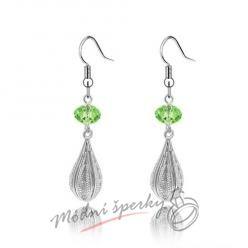 Náušnice Long silver with crystal green s krystaly Swarovski Elements