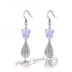 Náušnice Long silver with buterfly purple s krystaly Swarovski Elements