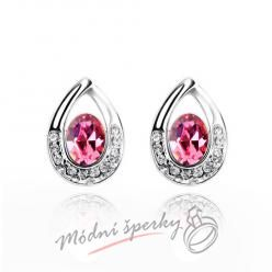 Náušnice Tear shape rose s krystaly Swarovski Elements