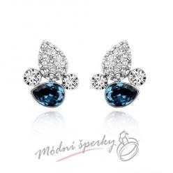 Náušnice Leaf stone dark blue s krystaly Swarovski Elements