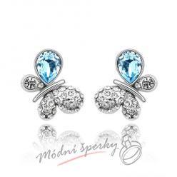 Náušnice Motýlek aquamarine s krystaly Swarovski Elements
