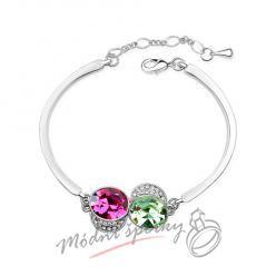 Náramek s krystaly Swarovski Elements růžové a zelené krystaly