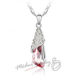 Romantický přívěšek růžový krystal s krystaly SWAROVSKI ELEMENTS