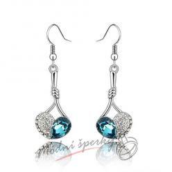 Náušnice Visací srdce ocean blue s krystaly Swarovski Elements