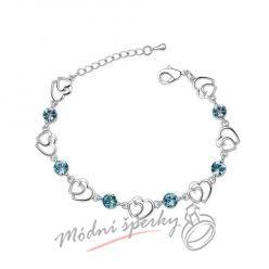 Náramek s krystaly Swarovski Elements two hearts modré