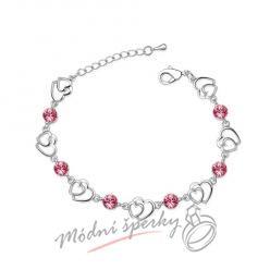 Náramek s krystaly Swarovski Elements two hearts růžové