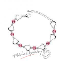 Náramek s krystaly Swarovski Elements one heart růžové