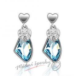 Náušnice Visací kámen modrý s krystaly Swarovski Elements