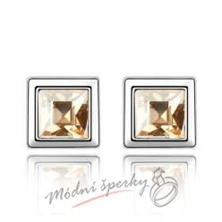 Náušnice Krychličky zlaté s krystaly Swarovski Elements