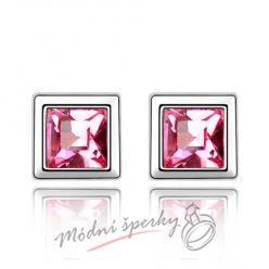 Náušnice Krychličky růžové s krystaly Swarovski Elements