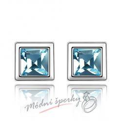 Náušnice Krychličky modré s krystaly Swarovski Elements
