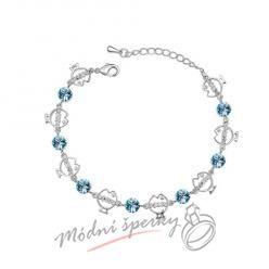 Náramek s krystaly Swarovski Elements fishes modré