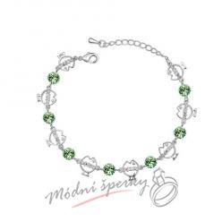 Náramek s krystaly Swarovski Elements fishes zelené