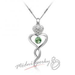 Elegantní náhrdelník zelený kamínek s krystaly SWAROVSKI ELEMENTS