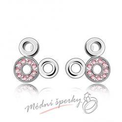 Náušnice Kroužky růžové s krystaly Swarovski Elements