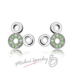 Náušnice Kroužky zelené s krystaly Swarovski Elements